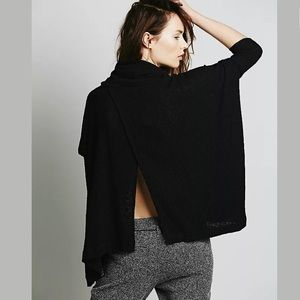 Free people beach black split back cowl neck top